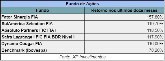 Fundos de Ações com melhores retornos em 12 meses - XP